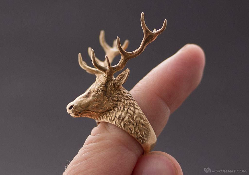 3d-zbrush-deer-head-ring-nikolay-vorobyov